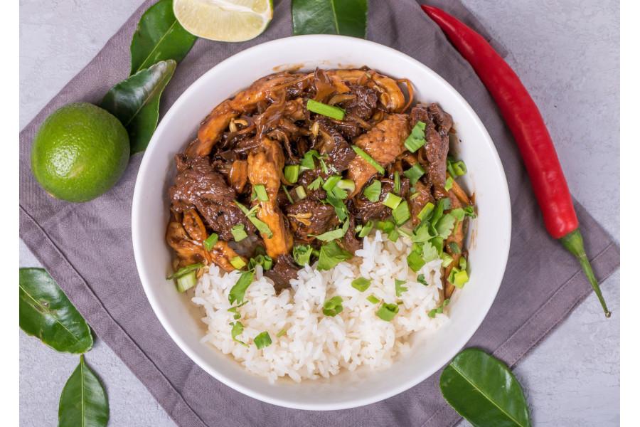 Говядина с вешенками и рисом